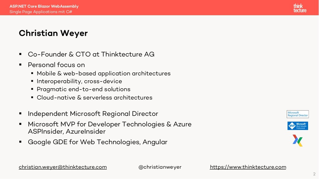 2 § Co-Founder & CTO at Thinktecture AG § Perso...