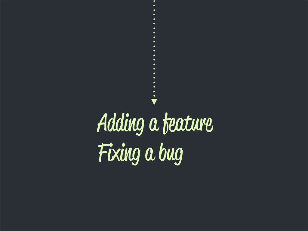 Adding a feature Fixing a bug