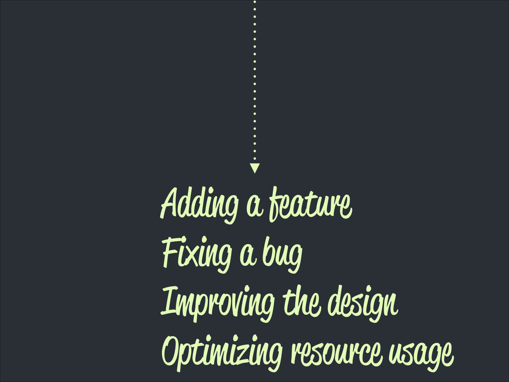 Adding a feature Fixing a bug Improving the des...