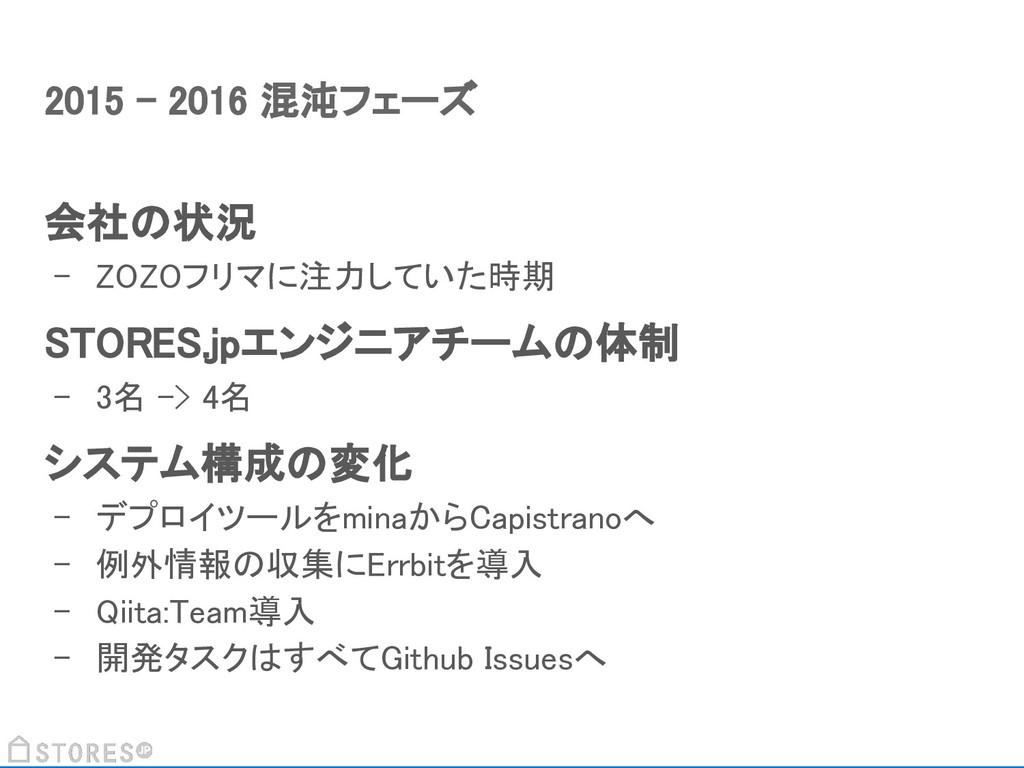 会社の状況 - ZOZOフリマに注力していた時期 STORES.jpエンジニアチームの体制 -...