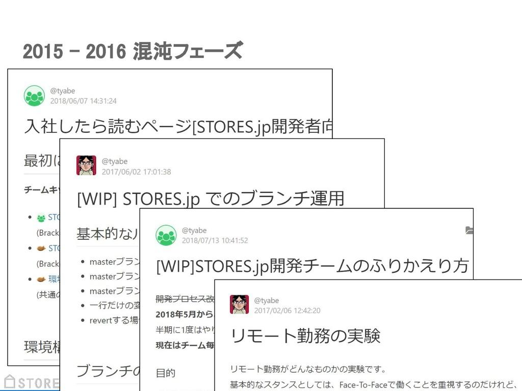 2015 - 2016 混沌フェーズ