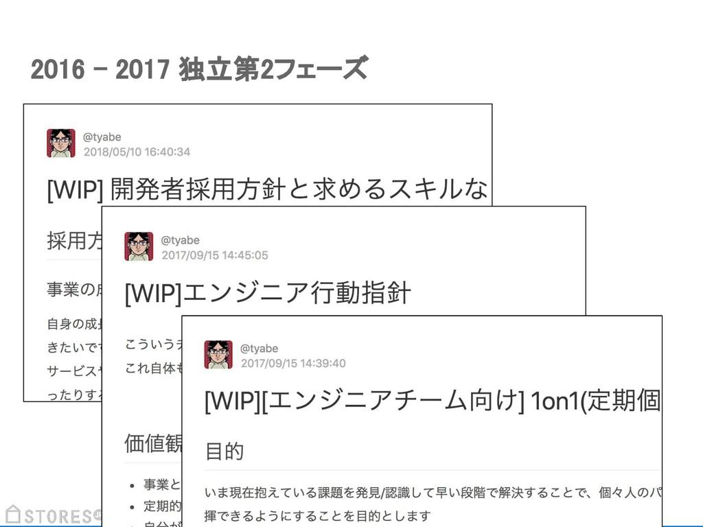2016 - 2017 独立第2フェーズ
