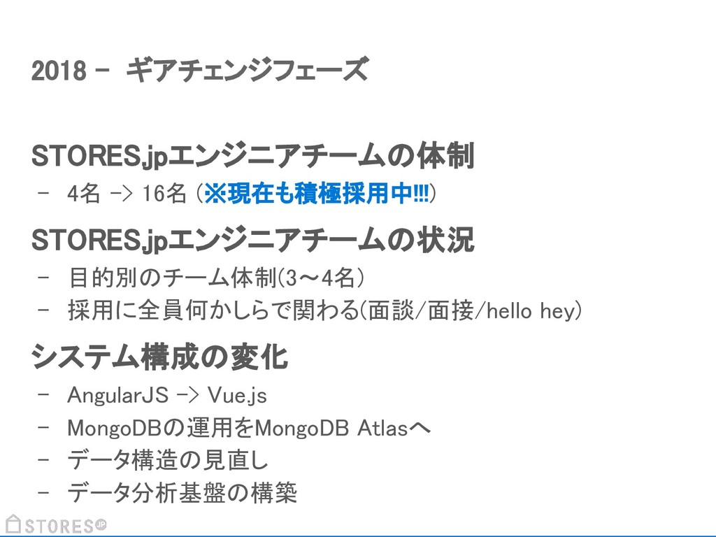 STORES.jpエンジニアチームの体制 - 4名 -> 16名 (※現在も積極採用中!!!)...