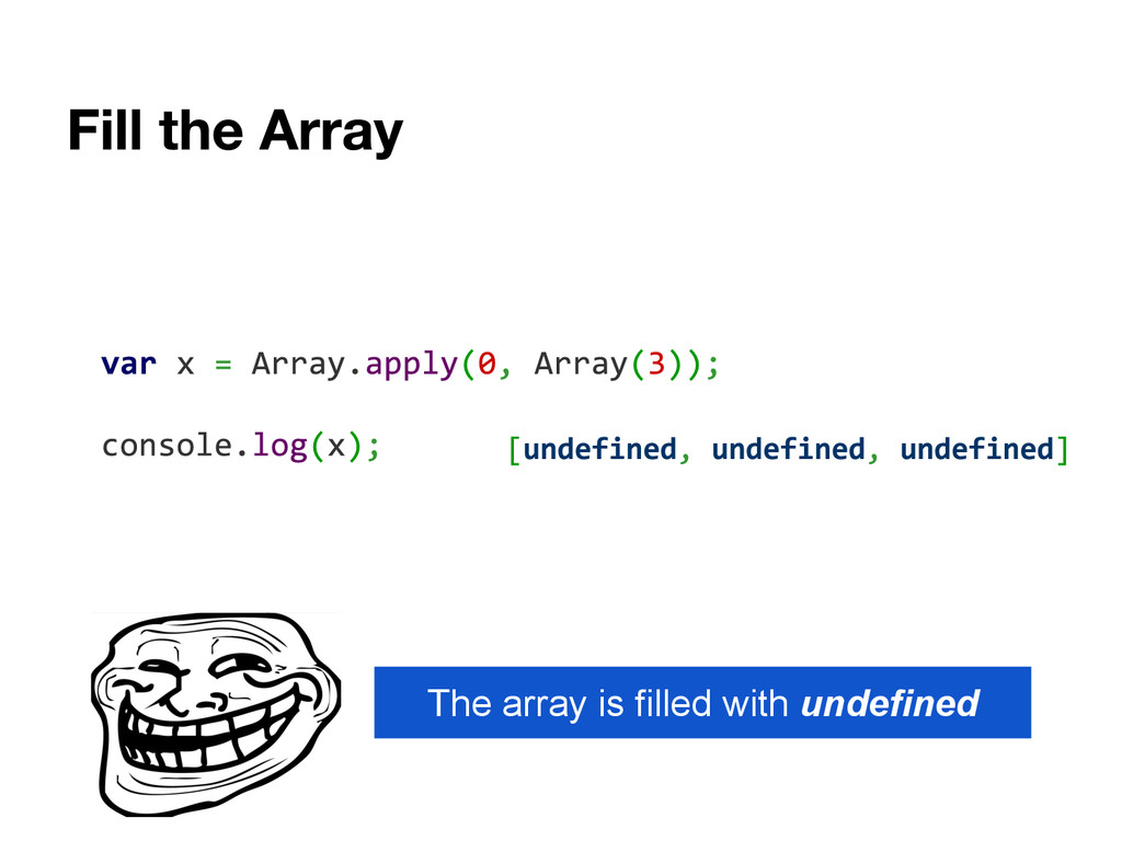 The array is filled with undefined
