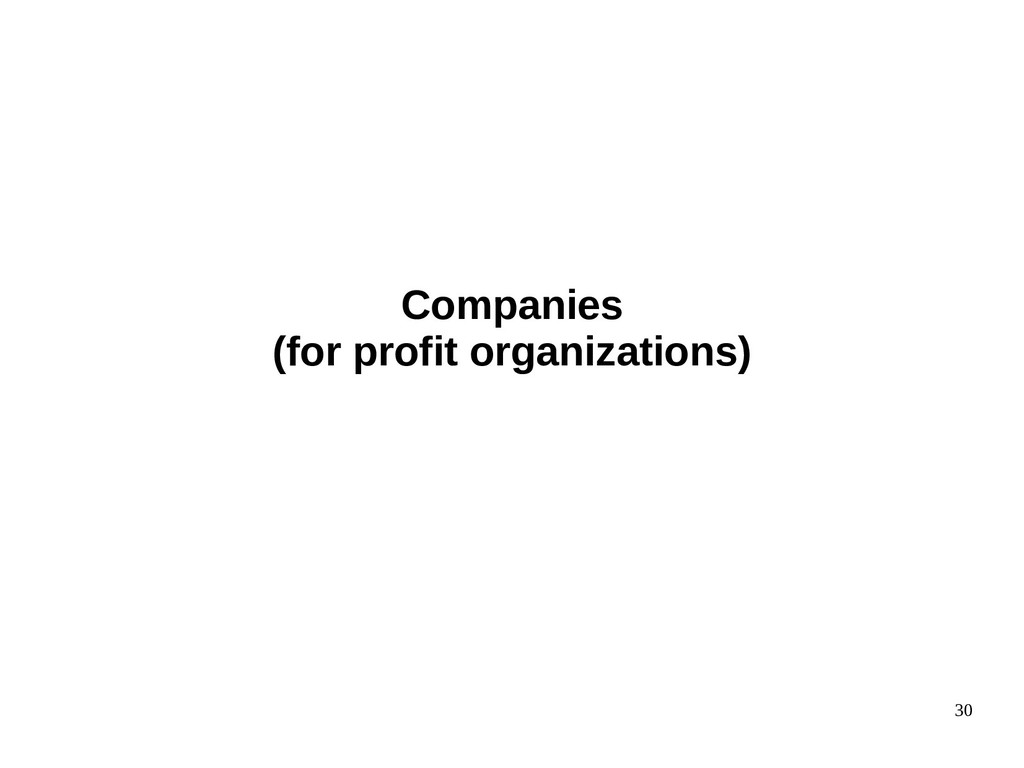 30 Companies (for profit organizations)