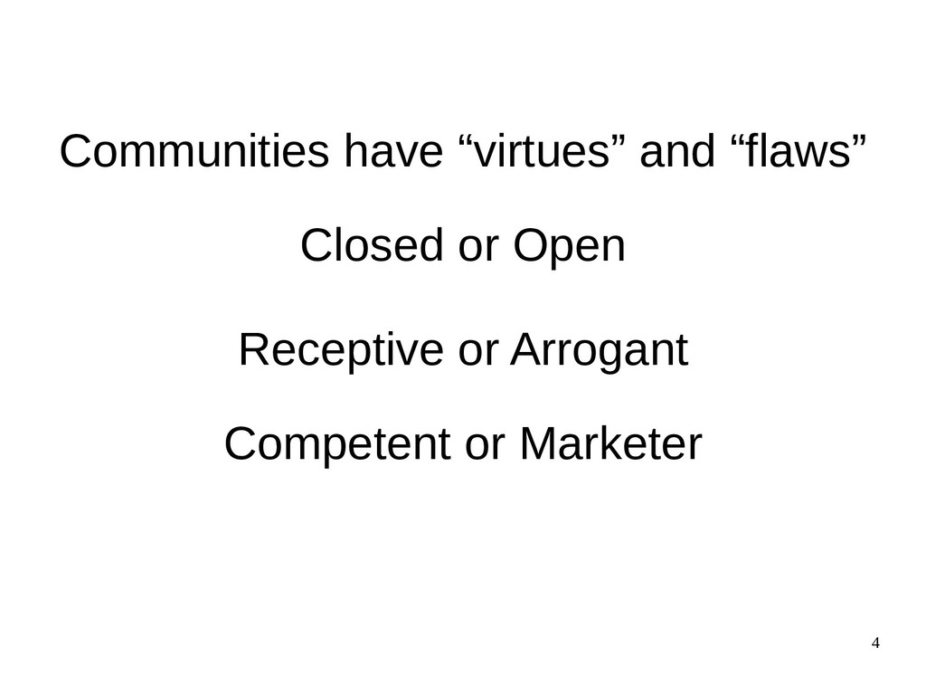 "4 Communities have ""virtues"" and ""flaws"" Closed..."