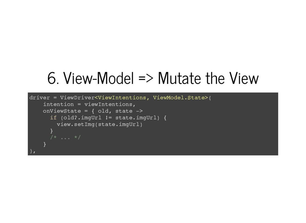 6. View-Model => Mutate the View d r i v e r = ...