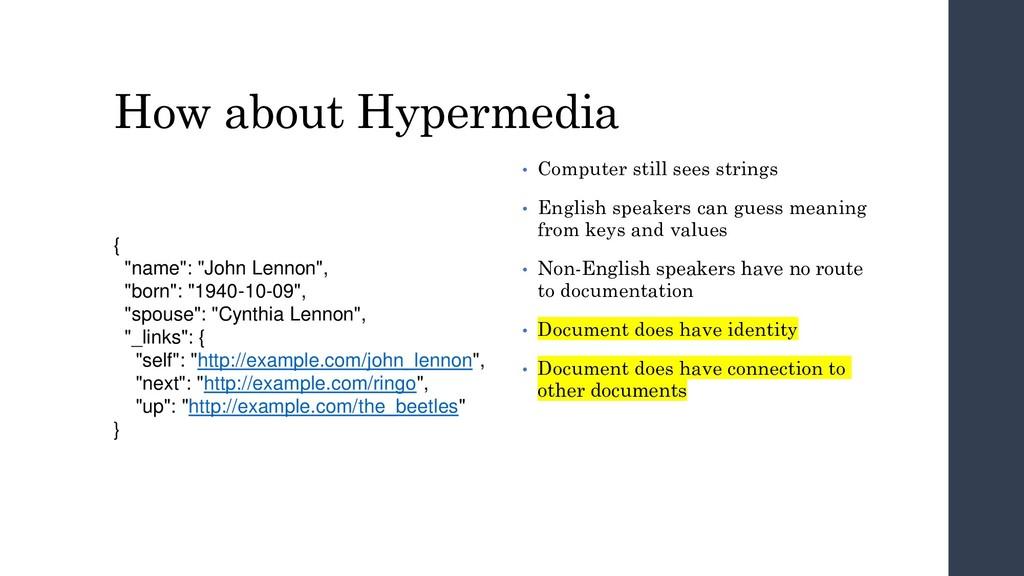 """How about Hypermedia { """"name"""": """"John Lennon"""", """"..."""