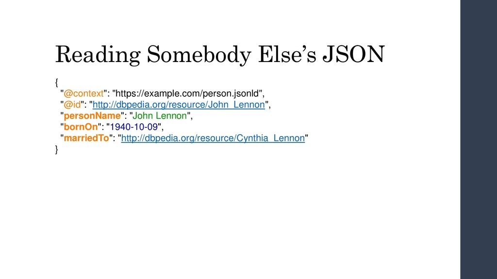 """Reading Somebody Else's JSON { """"@context"""": """"htt..."""
