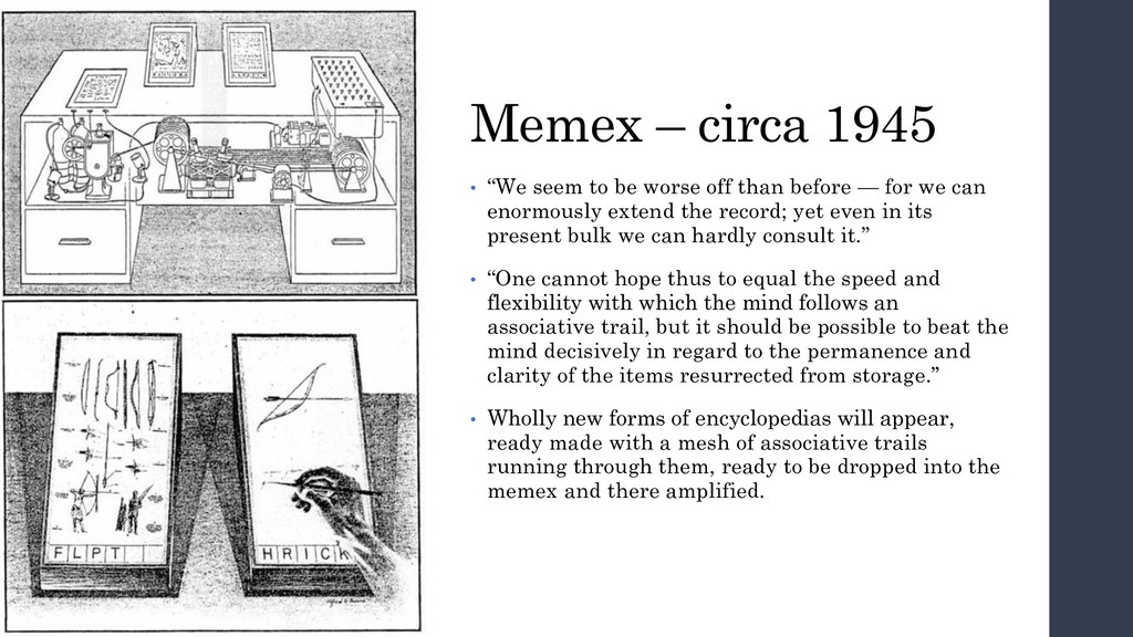 "Memex – circa 1945 • ""We seem to be worse off t..."