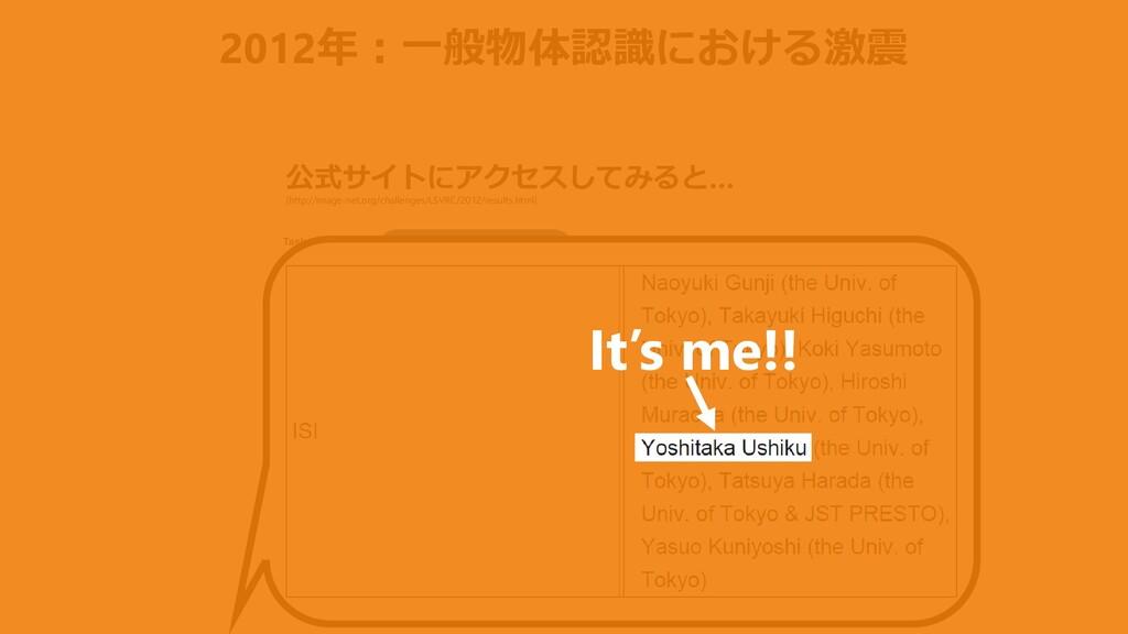 2012年:一般物体認識における激震 公式サイトにアクセスしてみると… 1st team w/...