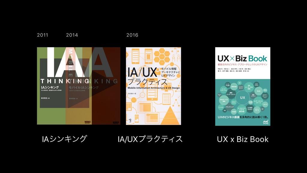 2011 2016 2014 IAγϯΩϯά IA/UXϓϥΫςΟε UX x Biz Book