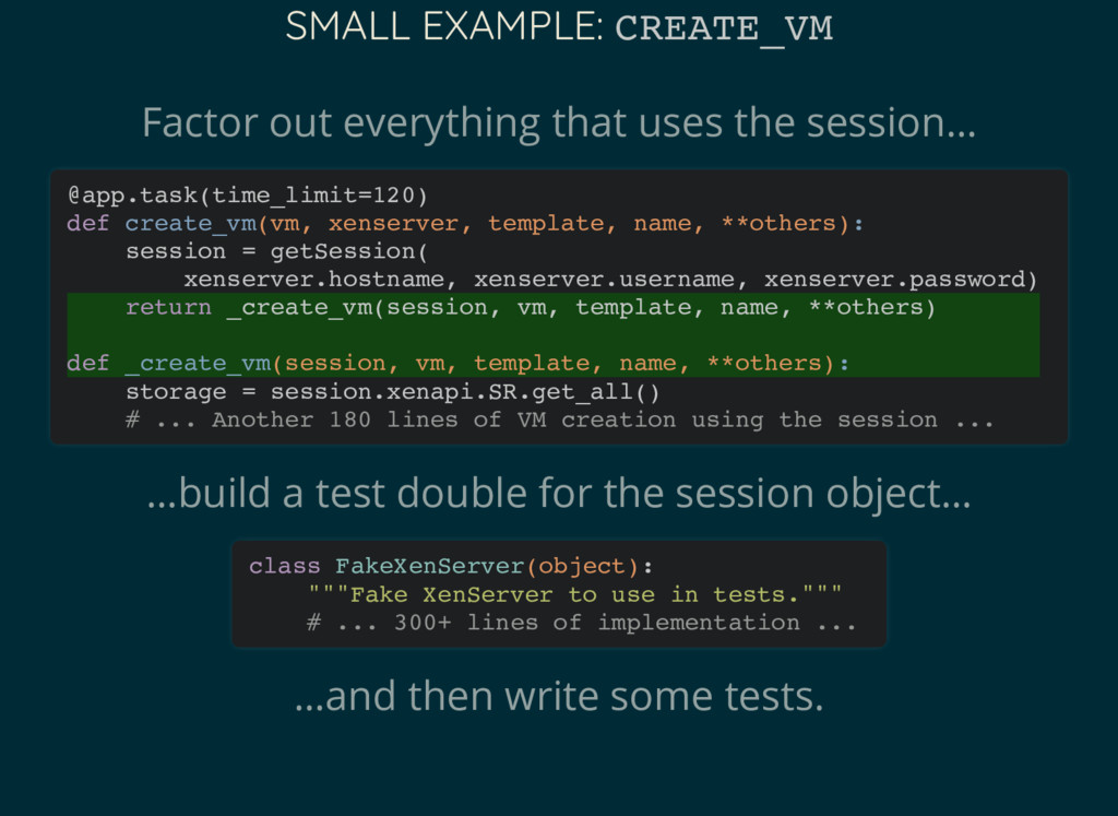 SMALL EXAMPLE: CREATE_VM Factor out everything ...