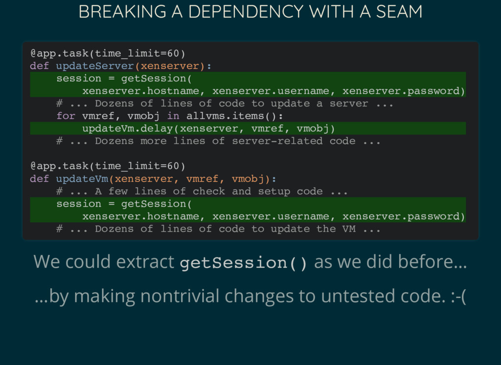 BREAKING A DEPENDENCY WITH A SEAM We could extr...