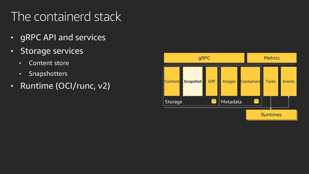 The containerd stack • gRPC API and services • ...