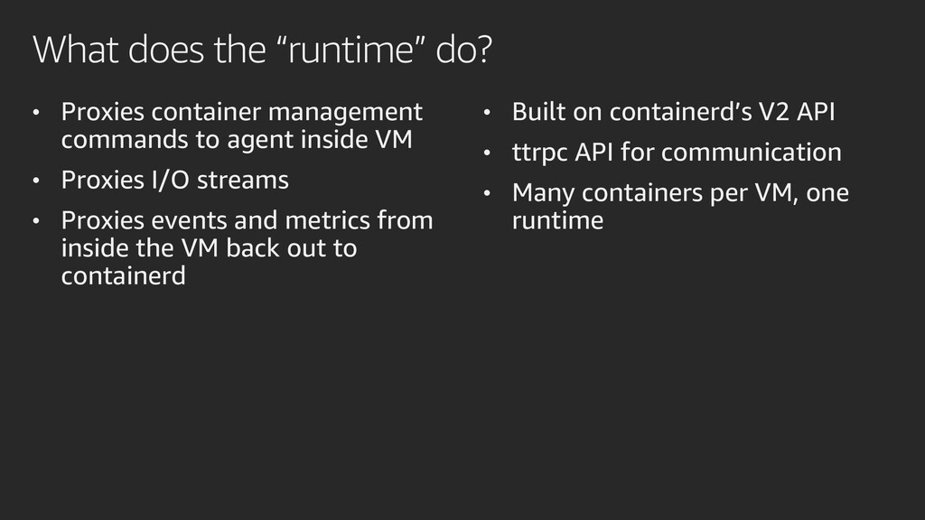 "What does the ""runtime"" do? • Proxies container..."