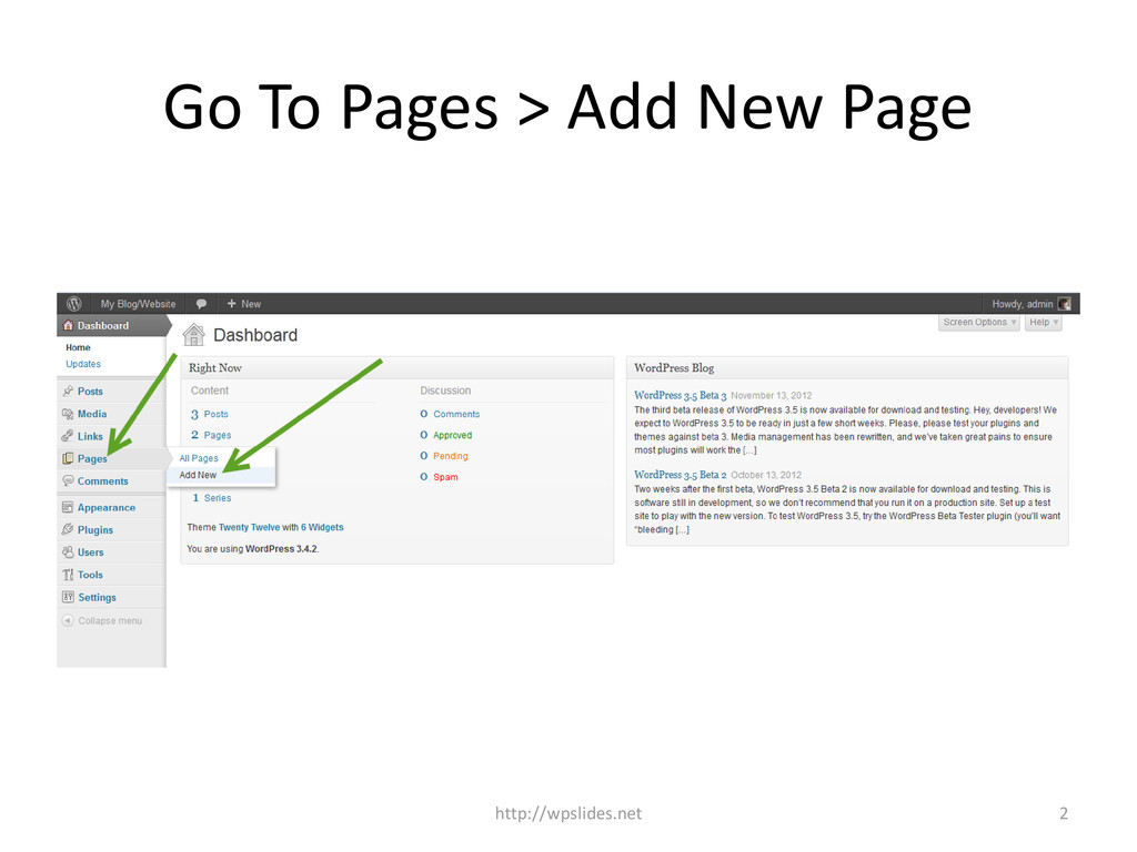 Go To Pages > Add New Page http://wpslides.net 2