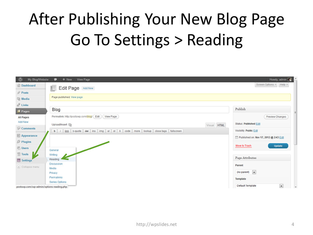 After Publishing Your New Blog Page Go To Setti...