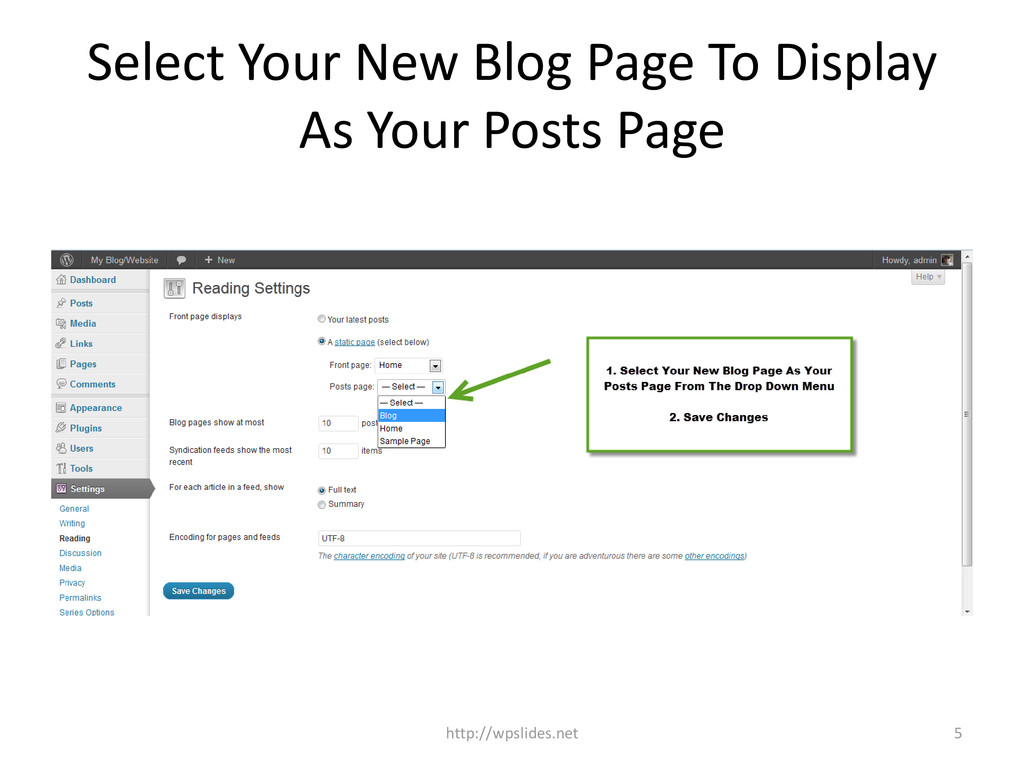 Select Your New Blog Page To Display As Your Po...