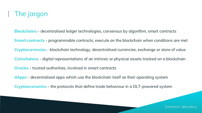 Blockchains - decentralised ledger technologies...