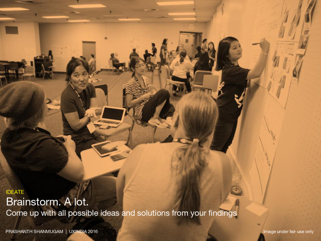 IDEATE Brainstorm. A lot. Come up with all poss...