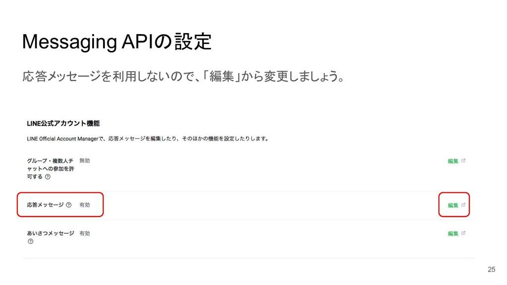 Messaging APIの設定 応答メッセージを利用しないので、「編集」から変更しましょう。...
