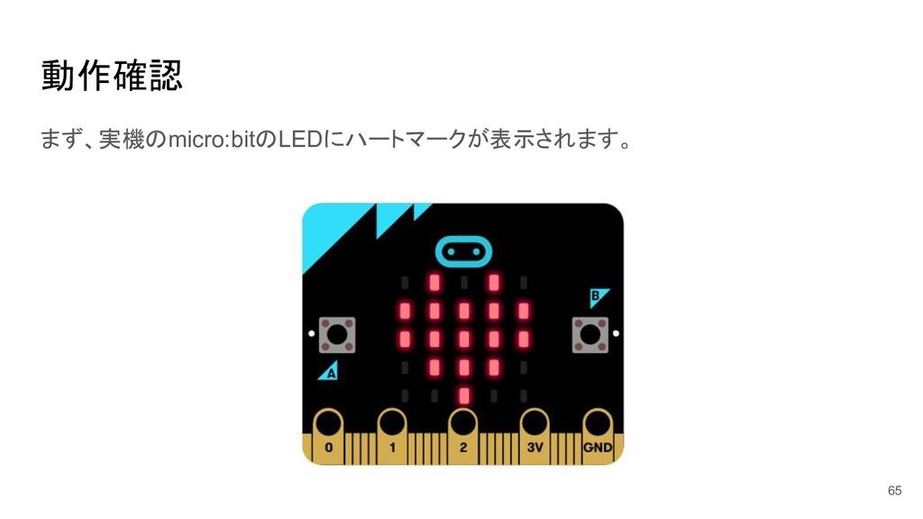 動作確認 65 まず、実機のmicro:bitのLEDにハートマークが表示されます。