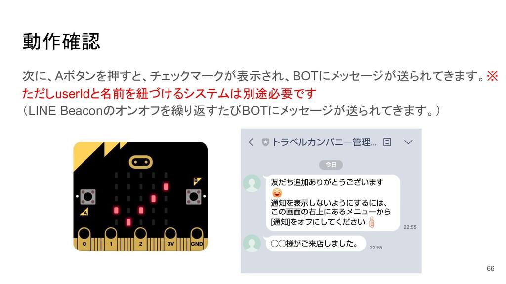 動作確認 66 次に、Aボタンを押すと、チェックマークが表示され、BOTにメッセージが送られて...