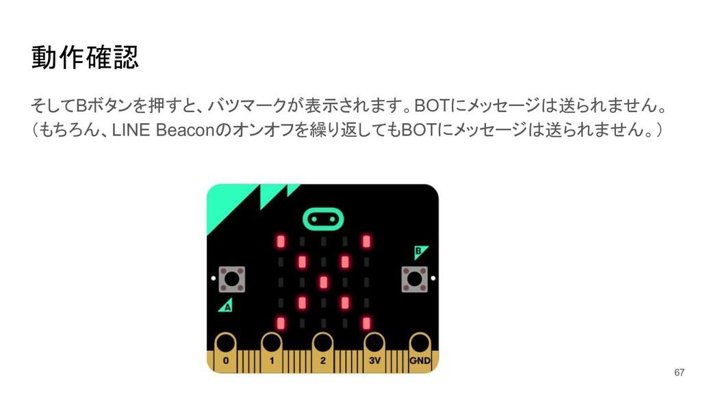 動作確認 67 そしてBボタンを押すと、バツマークが表示されます。BOTにメッセージは送られま...