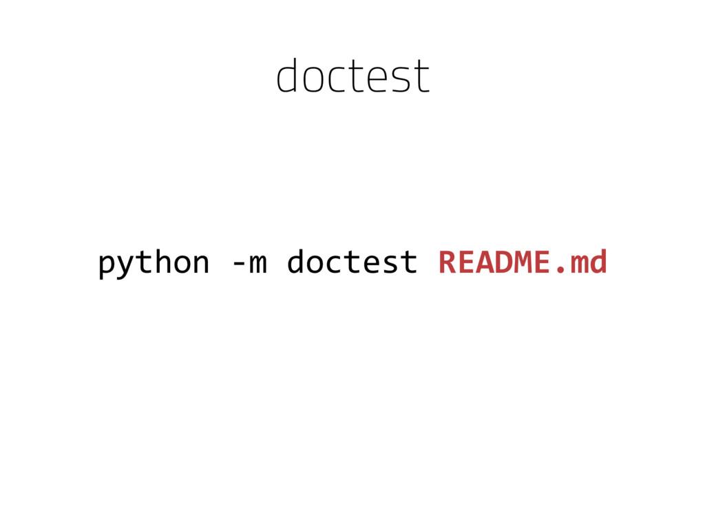 python -m doctest README.md doctest