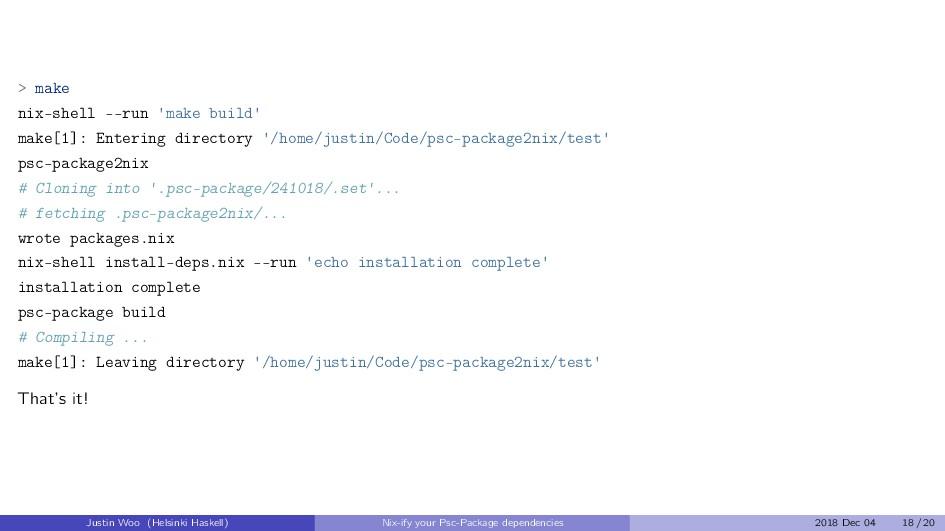 > make nix-shell --run 'make build' make[1]: En...