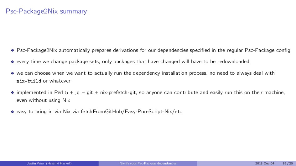 Psc-Package2Nix summary Psc-Package2Nix automat...