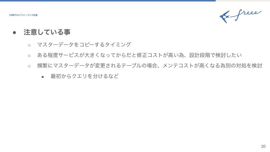 20 ● ҙ͍ͯ͠Δ ○ ϚελʔσʔλΛίϐʔ͢ΔλΠϛϯά ○ ͋ΔఔαʔϏε͕େ͖...