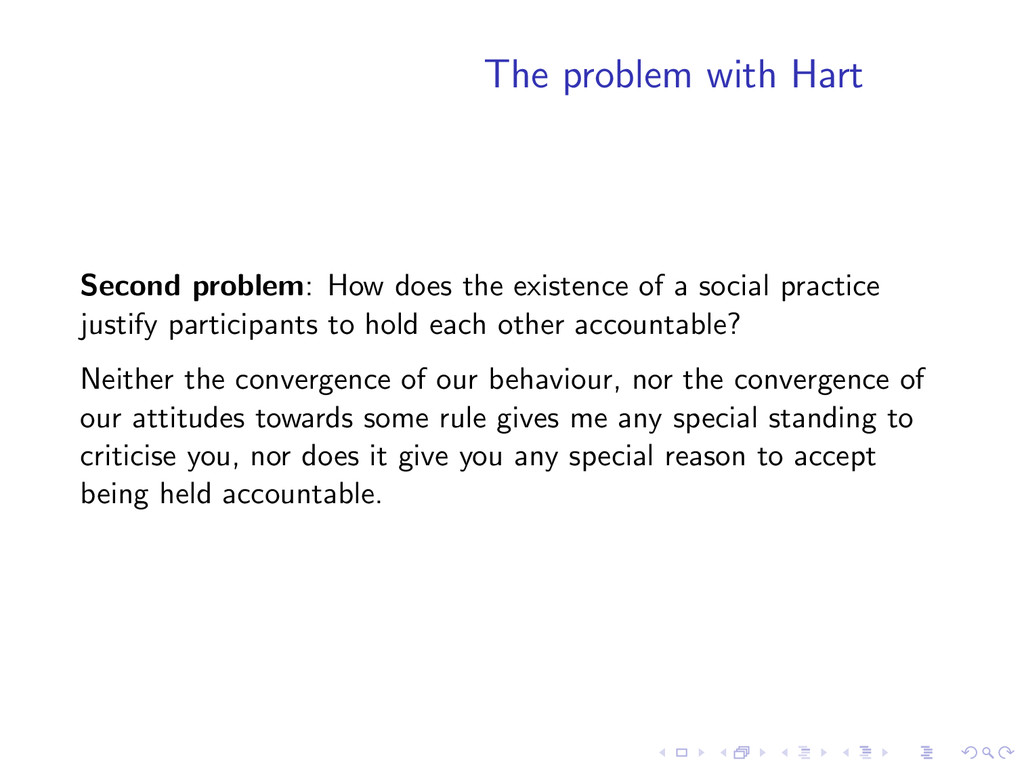 The problem with Hart Second problem: How does ...