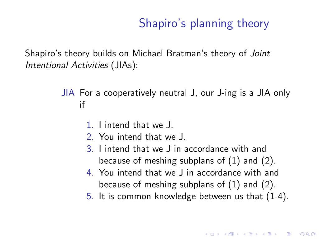 Shapiro's planning theory Shapiro's theory buil...