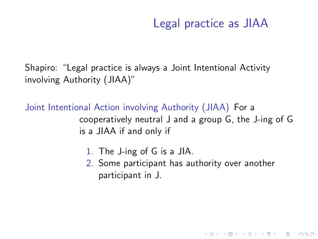 "Legal practice as JIAA Shapiro: ""Legal practice..."