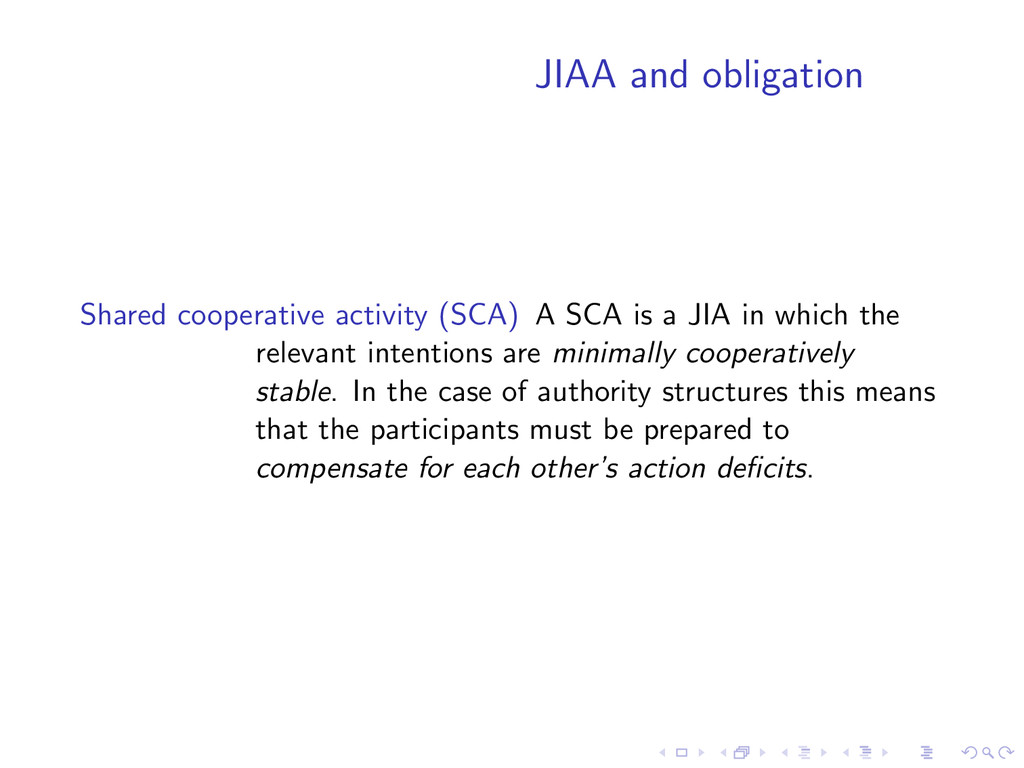 JIAA and obligation Shared cooperative activity...