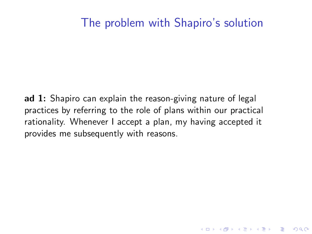The problem with Shapiro's solution ad 1: Shapi...