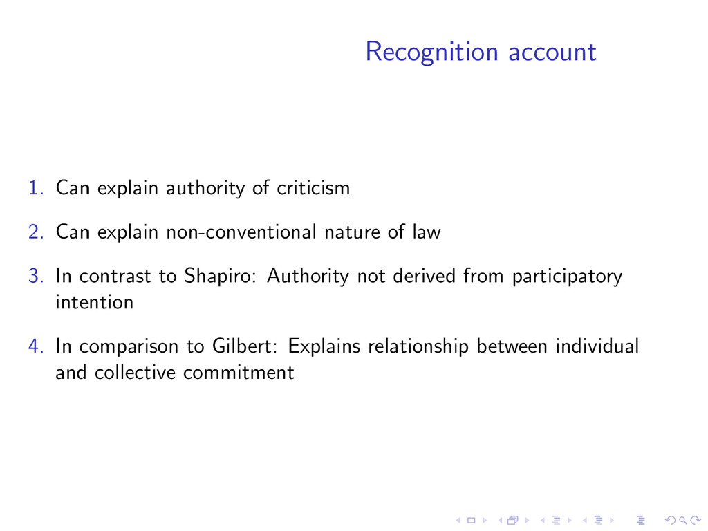 Recognition account 1. Can explain authority of...
