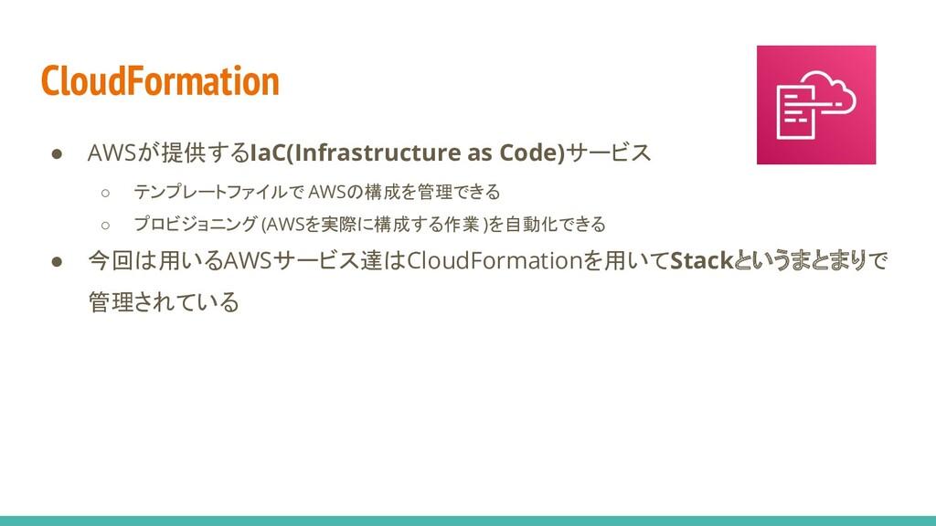 CloudFormation ● AWSが提供するIaC(Infrastructure as ...