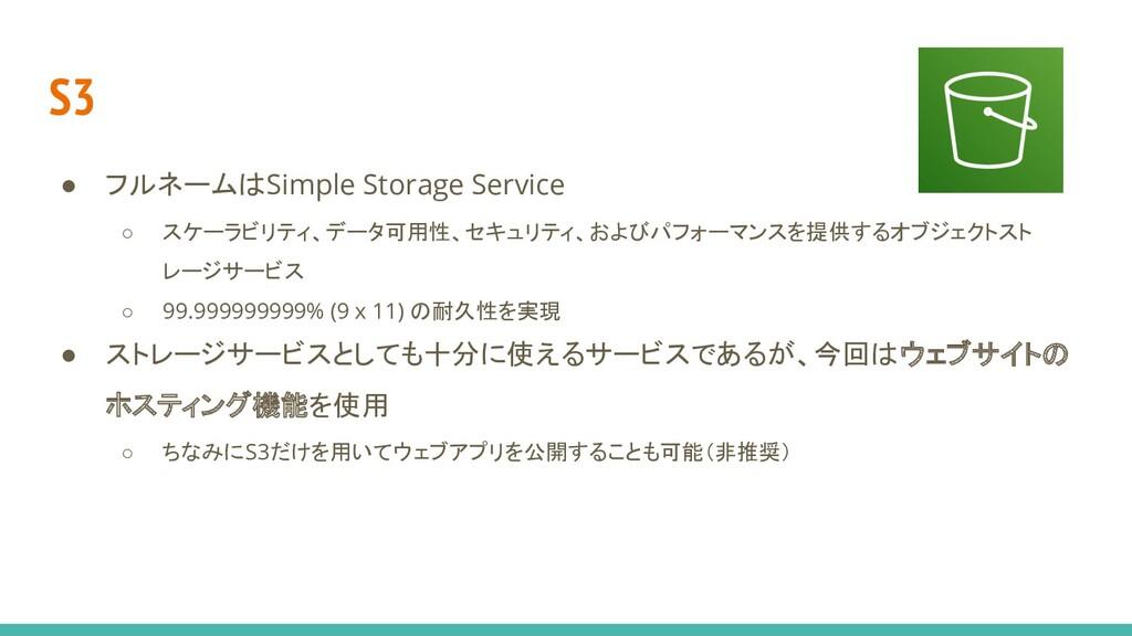 S3 ● フルネームはSimple Storage Service ○ スケーラビリティ、デー...