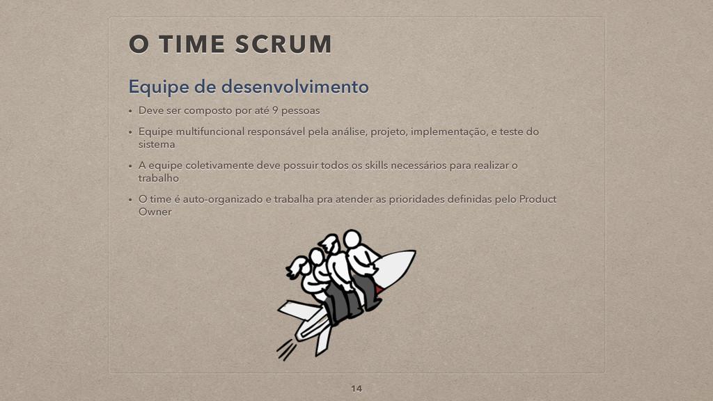 O TIME SCRUM Equipe de desenvolvimento 14 • Dev...