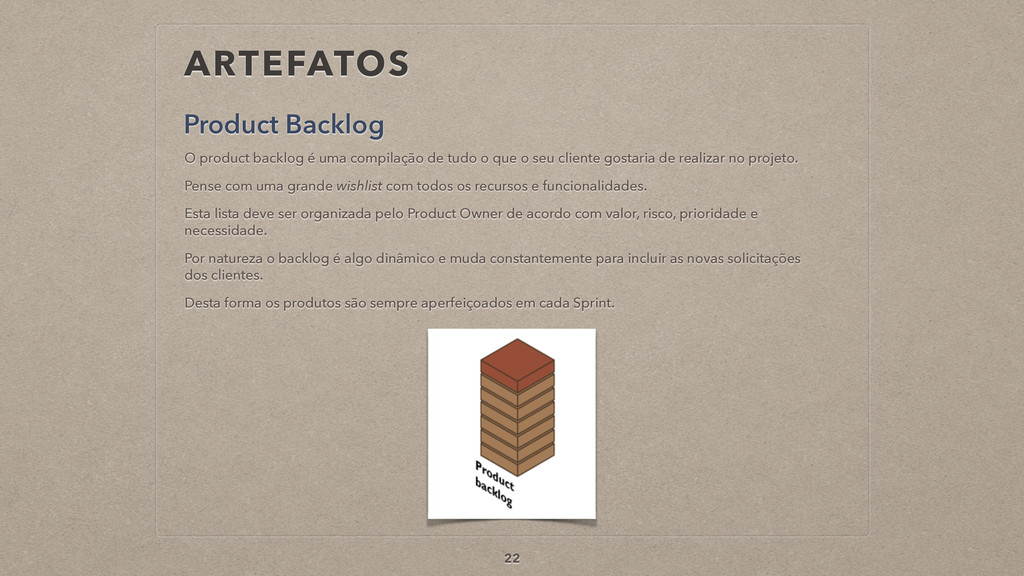 ARTEFATOS Product Backlog 22 O product backlog ...