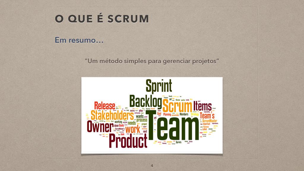 """O QUE É SCRUM """"Um método simples para gerenciar..."""