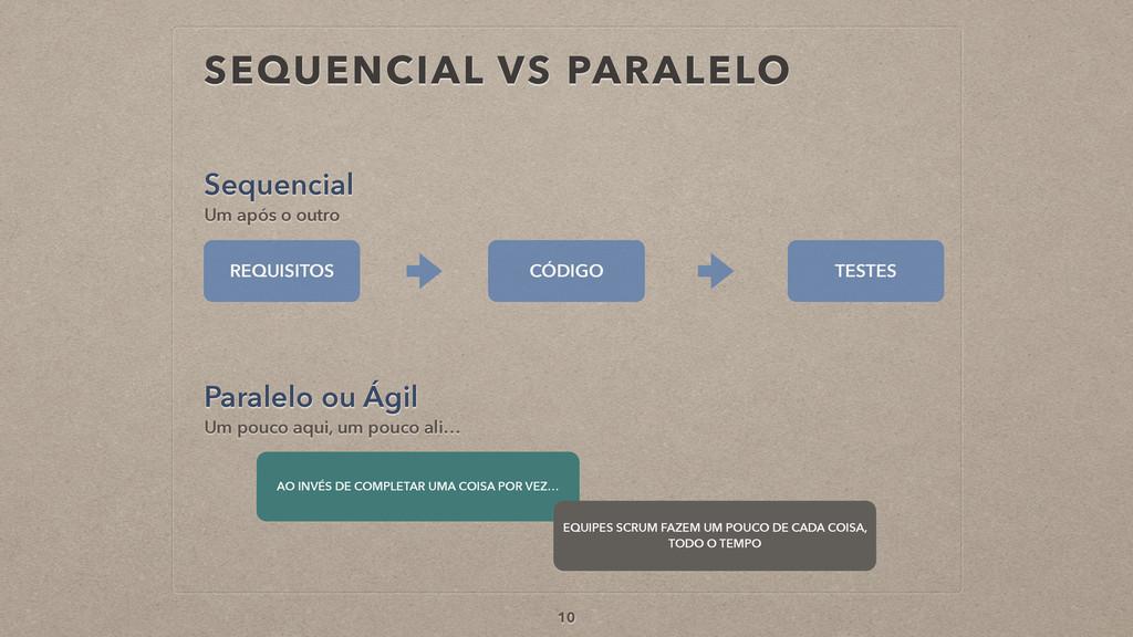SEQUENCIAL VS PARALELO Sequencial 10 Um após o ...