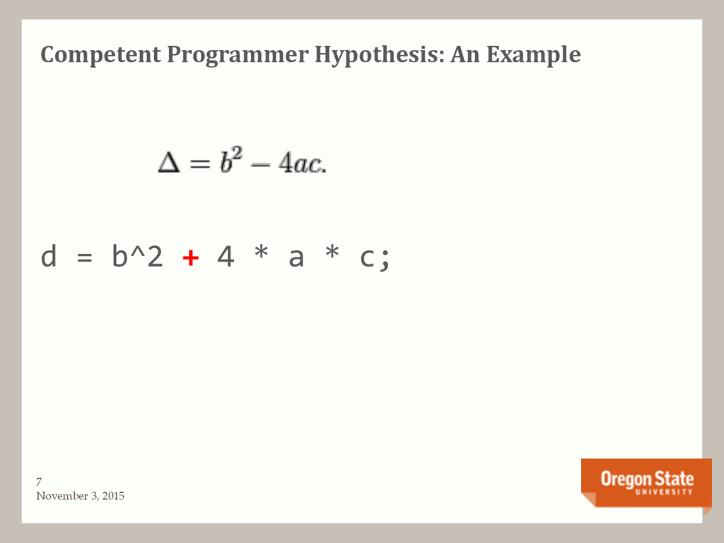 Competent Programmer Hypothesis: An Example d =...