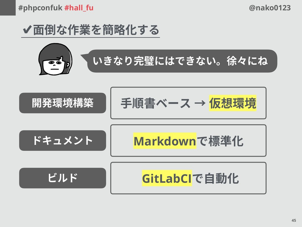 #phpconfuk #hall_fu @nako0123 ✔面倒な作業を簡略化する いきなり...
