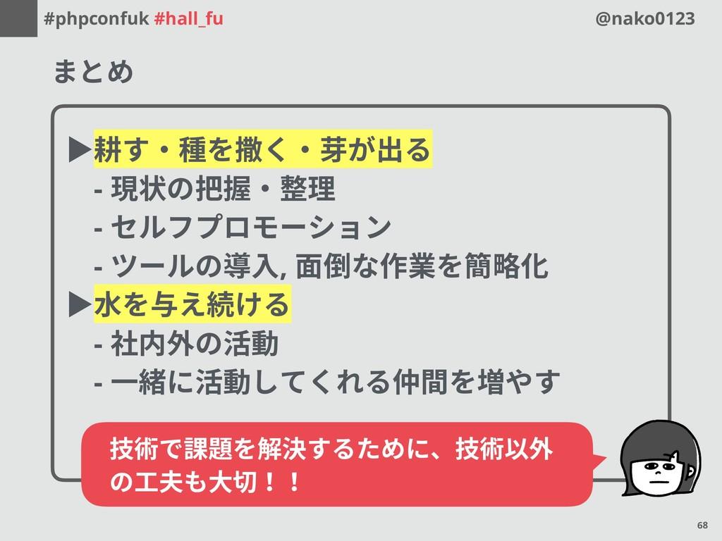 #phpconfuk #hall_fu @nako0123 まとめ ▶耕す・種を撒く・芽が出る...