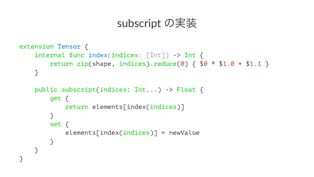 subscript ͷ࣮ extension Tensor { internal func ...