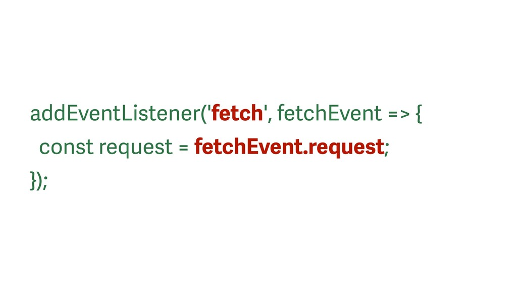 addEventListener('fetch', fetchEvent => { const...